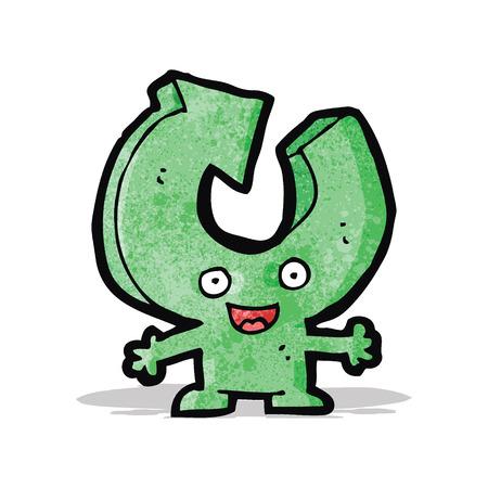 cartoon recycling arrow character Illustration