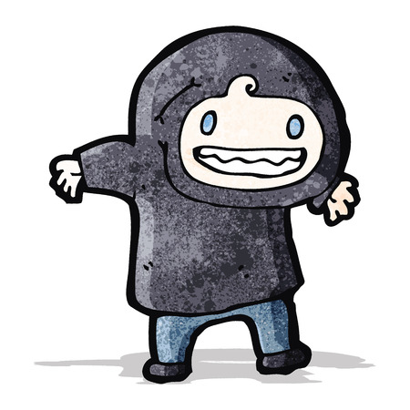 hooded sweatshirt: cartoon boy in hooded sweatshirt