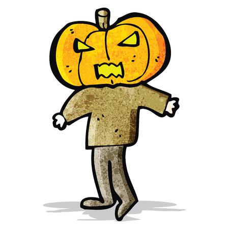 calabaza caricatura: dibujos animados cabeza de calabaza hombre