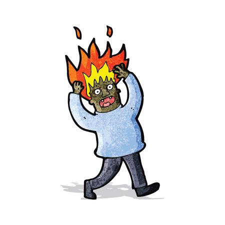 flaming: cartoon man with flaming hair