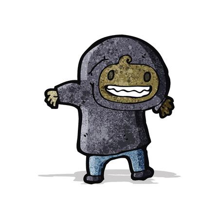 encapuchado: muchacho de la historieta en tapa encapuchada