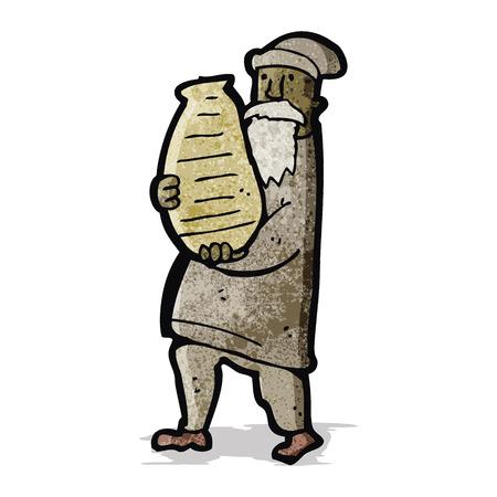 clay pot: cartoon man carrying large clay pot Illustration