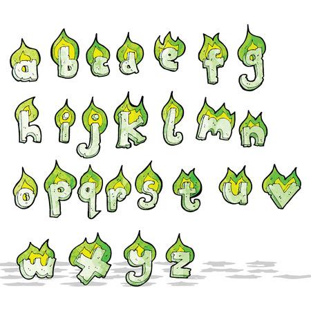 flaming: cartoon flaming green letters alphabet Illustration
