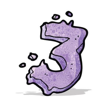 numbers: cartoon number three Illustration