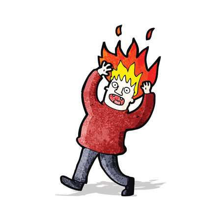 cartoon man with hair on fire