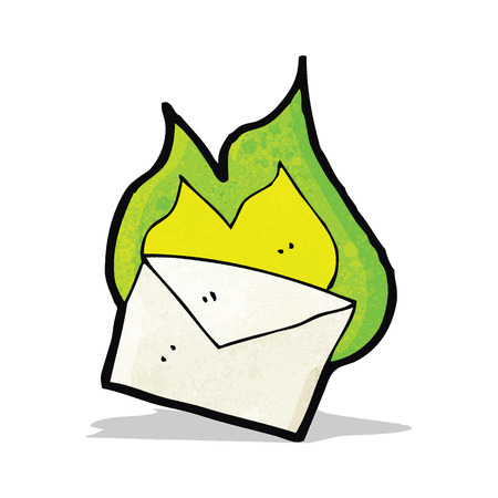 flaming: cartoon flaming letter
