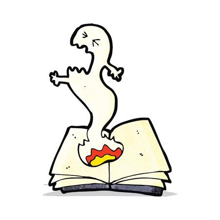 spell: cartoon haunted spell book Illustration