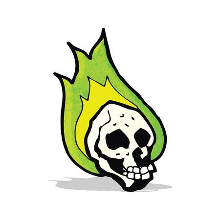 flaming: flaming spooky skull cartoon