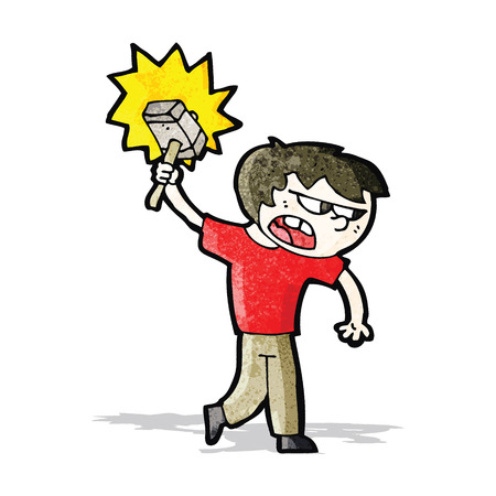 cartoon boy with hammer Vector