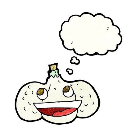 thought bubble: cartoon garlic with thought bubble