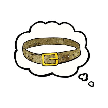 cintur�n de cuero: dibujos animados correa de cuero con la burbuja del pensamiento