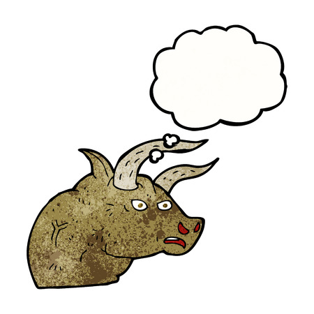 bull head: cartoon angry bull head with thought bubble