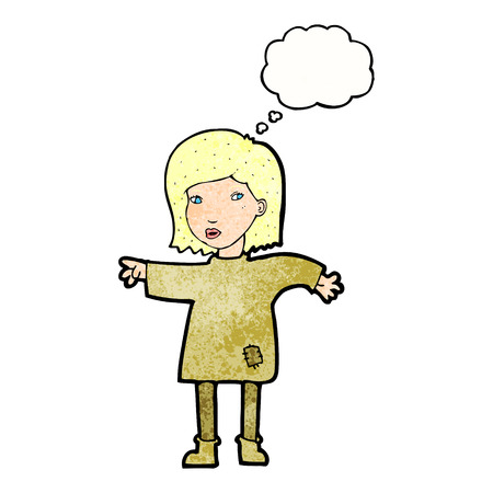 patched: cartoon woman in patched clothing with thought bubble