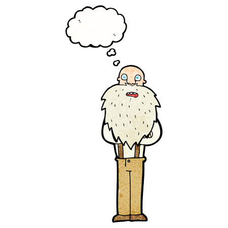 bearded: cartoon bearded old man with thought bubble