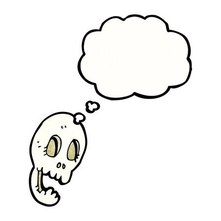 calavera caricatura: cr�neo divertido de la historieta con la burbuja del pensamiento