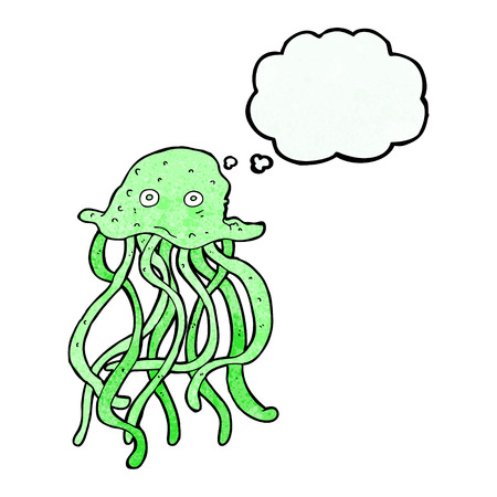 thought bubble: cartoon octopus with thought bubble Vettoriali