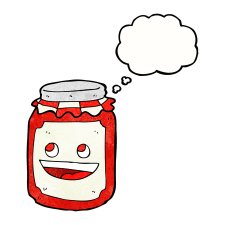 preserve: cartoon jar of preserve with thought bubble