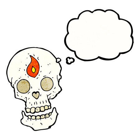mystic: cartoon mystic skull with thought bubble