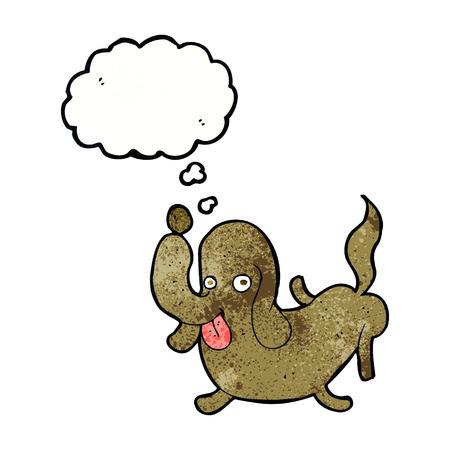 sticking out tongue: perro del dibujo animado sacar la lengua con la burbuja del pensamiento