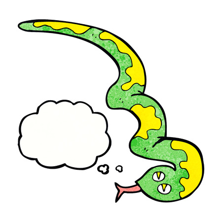 cartoon hissing snake with thought bubble