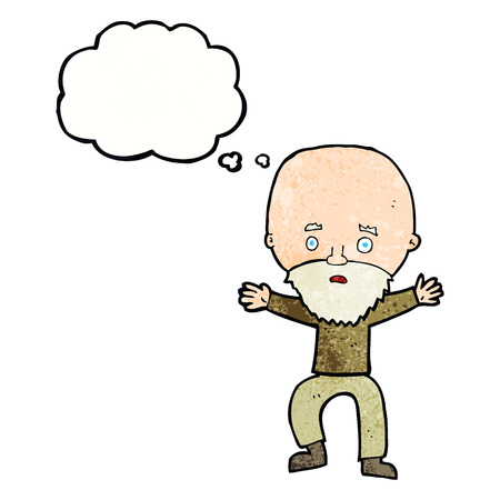 panicking: cartoon panicking old man with thought bubble
