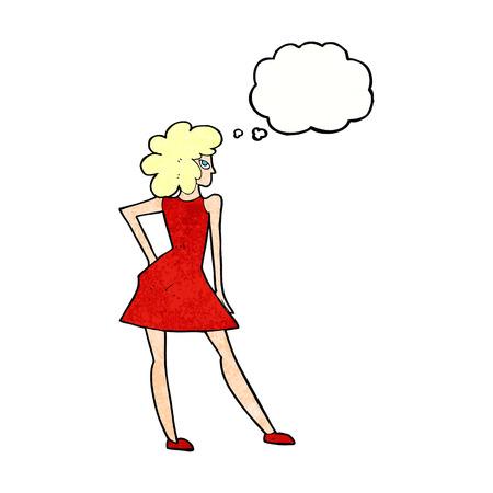 femme de bande dessinée posant en robe avec bulle de pensée