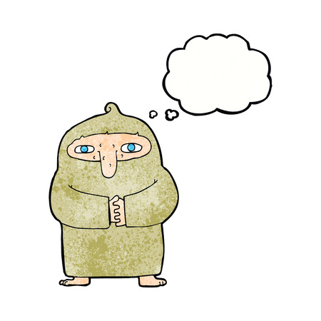 monk robe: cartoon monk in robe with thought bubble