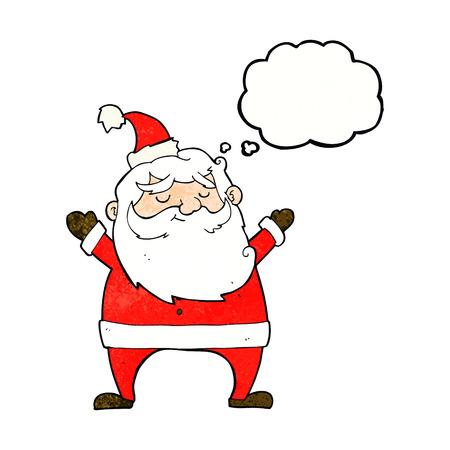jolly: jolly santa cartoon with thought bubble Illustration