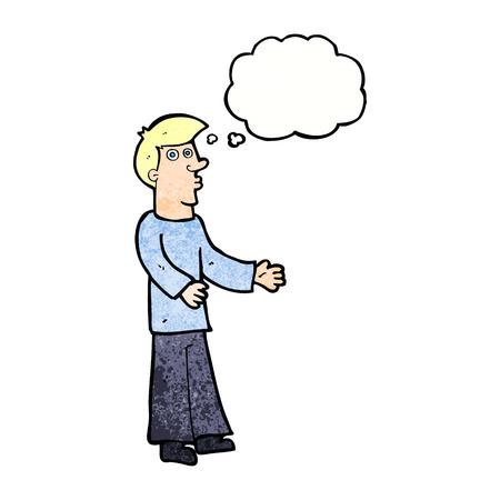 meraklı: düşünce balonu ile karikatür meraklı adam Çizim