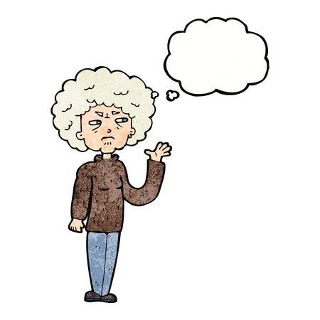 alte frau: Cartoon �rgerte alte Frau winkt mit Gedankenblase Illustration
