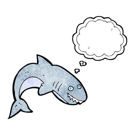 tiburon caricatura: tibur�n de la historieta con la burbuja del pensamiento Vectores
