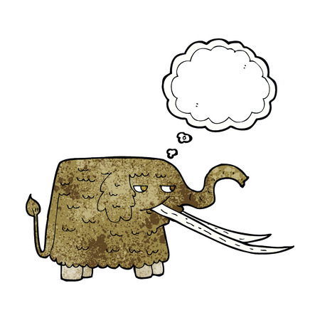 woolly: cartoon woolly mammoth with thought bubble