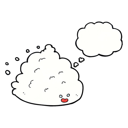 thought cloud: cartoon cloud character with thought bubble