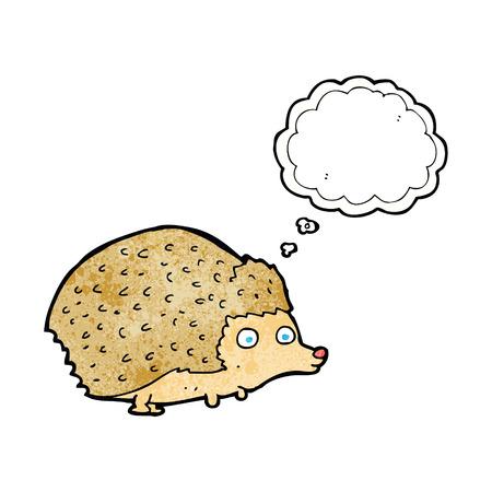 h�risson cartoon: h�risson de bande dessin�e avec bulle de pens�e