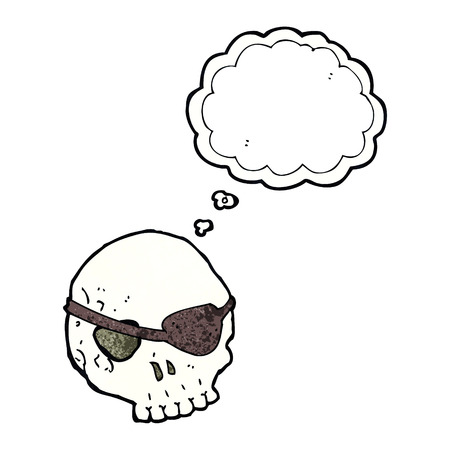 eye patch: cartoon skull with eye patch with thought bubble