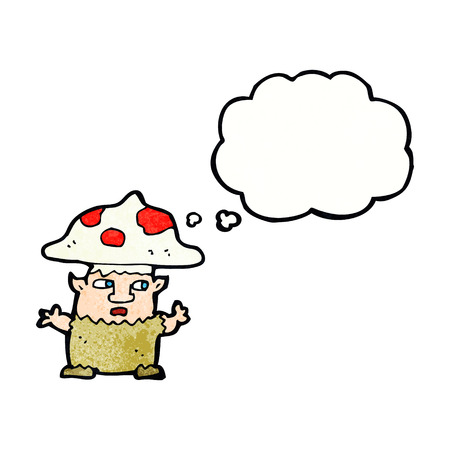 cartoon little mushroom man with thought bubble Vector