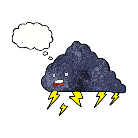cartoon thundercloud with thought bubble Vector