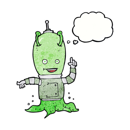invader: cartoon alien spaceman with thought bubble Illustration