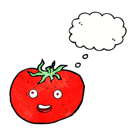 cartoon tomato with thought bubble Illustration