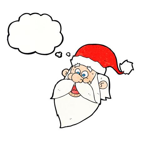 jolly: cartoon jolly santa claus face with thought bubble