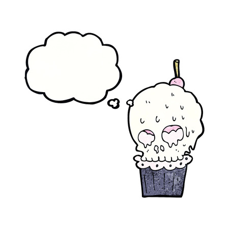 spook: cartoon spooky skull cupcake with thought bubble Illustration