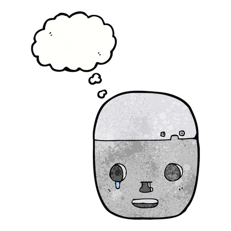 cartoon robot head with thought bubble Illustration