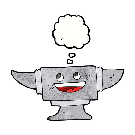 anvil: cartoon blacksmith anvil with thought bubble Illustration