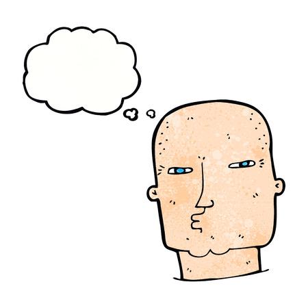 tough: cartoon bald tough guy with thought bubble