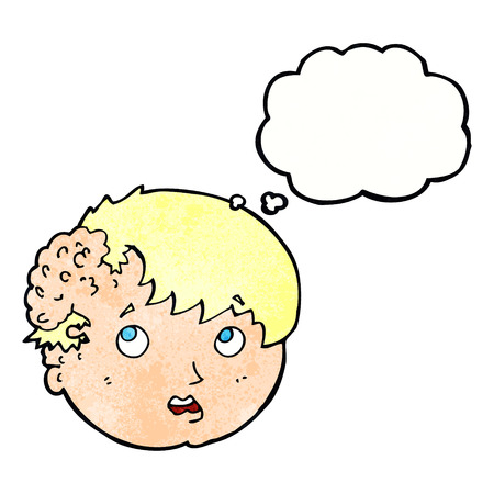 tumor growth: cartoon boy with ugly growth on head with thought bubble