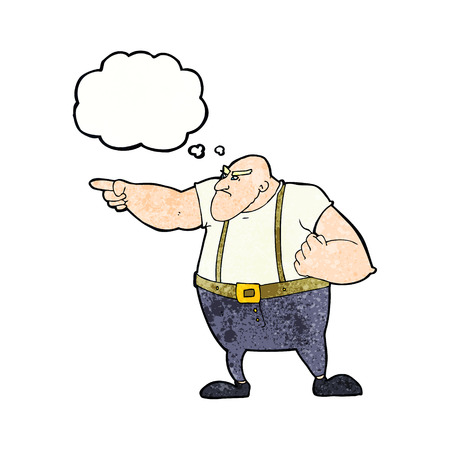 tough: cartoon angry tough guy pointing with thought bubble