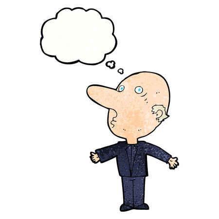 middle aged man: cartoon confused middle aged man with thought bubble Illustration