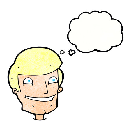 smilling: cartoon grinning man with thought bubble