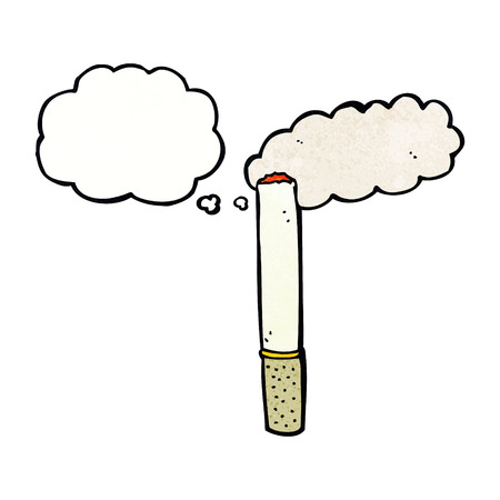 cartoon cigarette with thought bubble