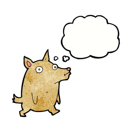 pent: cartoon funny little dog with thought bubble Illustration